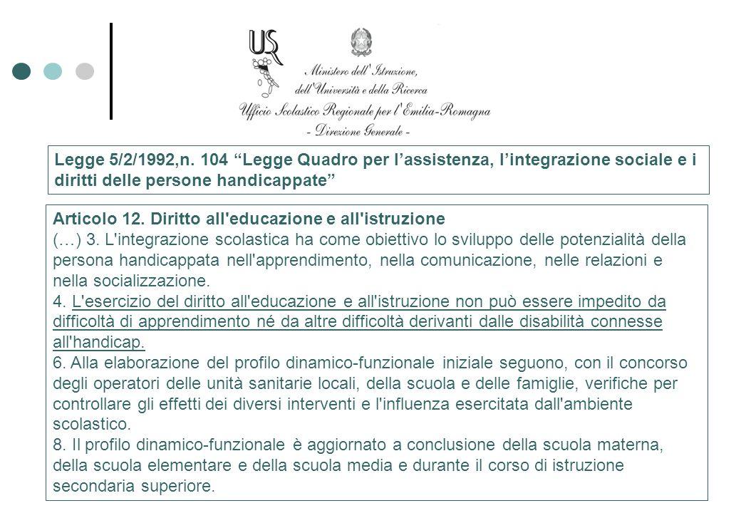 Legge 5/2/1992,n. 104 Legge Quadro per lassistenza, lintegrazione sociale e i diritti delle persone handicappate Articolo 12. Diritto all'educazione e