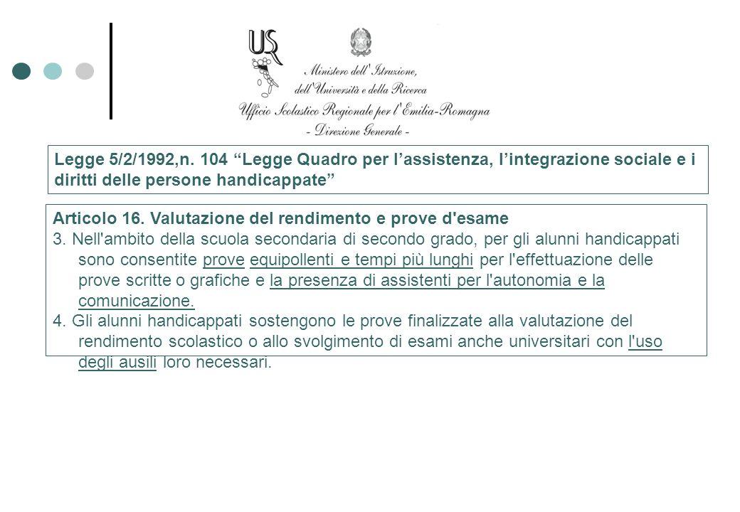Legge 5/2/1992,n. 104 Legge Quadro per lassistenza, lintegrazione sociale e i diritti delle persone handicappate Articolo 16. Valutazione del rendimen