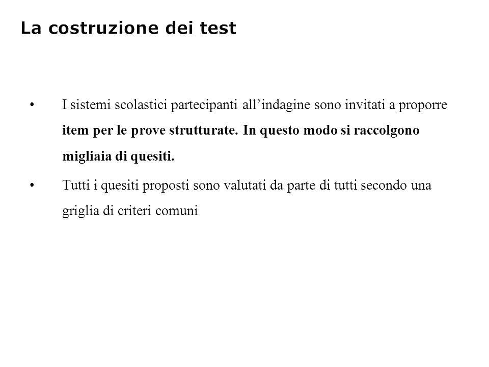 I sistemi scolastici partecipanti allindagine sono invitati a proporre item per le prove strutturate.