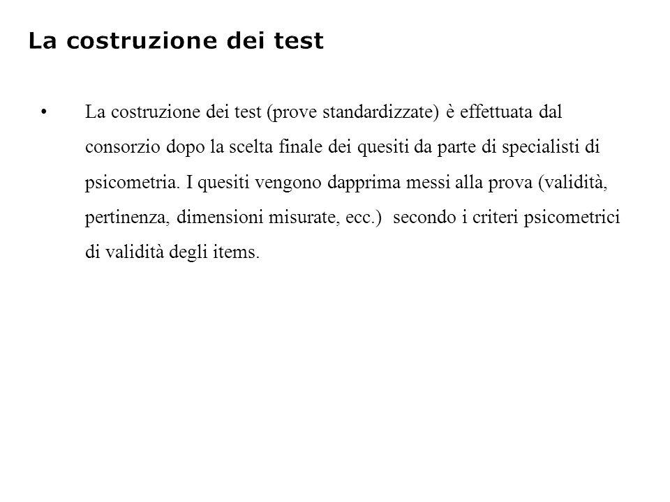 La costruzione dei test (prove standardizzate) è effettuata dal consorzio dopo la scelta finale dei quesiti da parte di specialisti di psicometria.