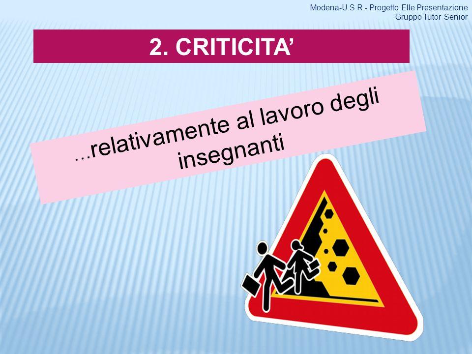2. CRITICITA … relativamente al lavoro degli insegnanti Modena-U.S.R.- Progetto Elle Presentazione Gruppo Tutor Senior