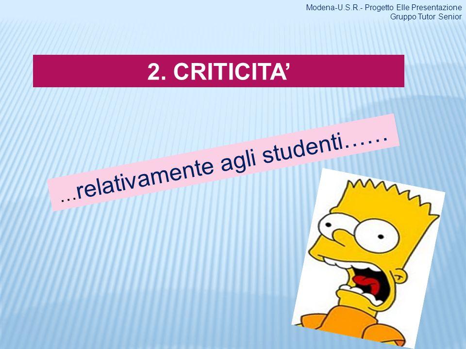 2. CRITICITA … relativamente agli studenti…… Modena-U.S.R.- Progetto Elle Presentazione Gruppo Tutor Senior