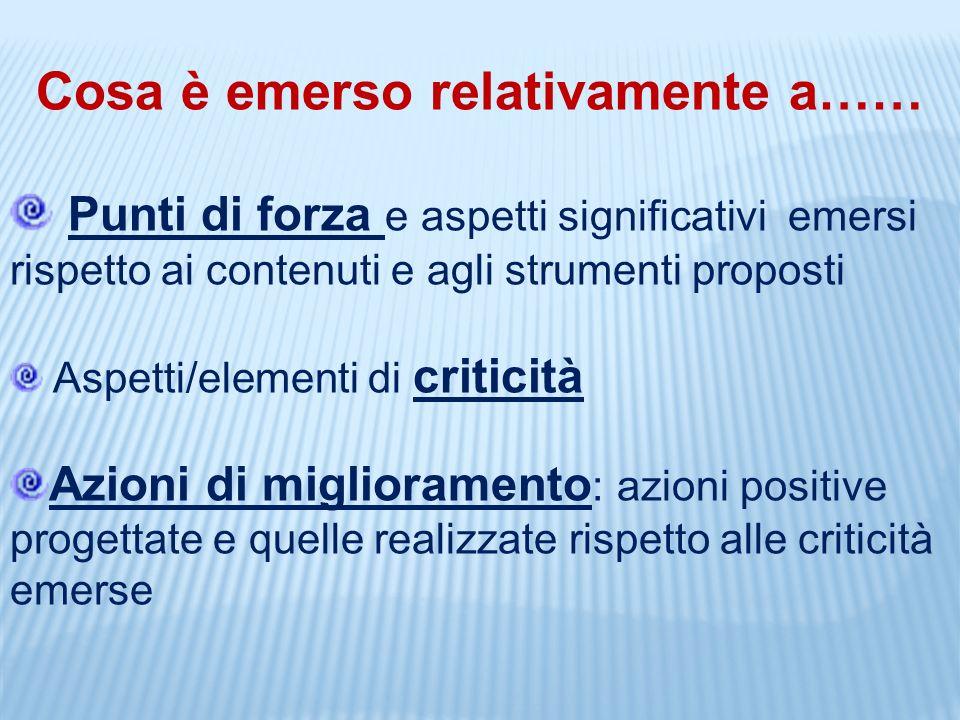 Cosa è emerso relativamente a…… Punti di forza e aspetti significativi emersi rispetto ai contenuti e agli strumenti proposti Aspetti/elementi di crit