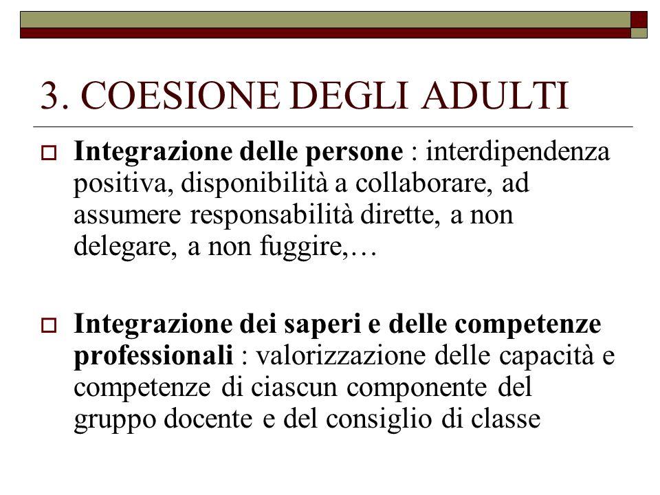 3. COESIONE DEGLI ADULTI Integrazione delle persone : interdipendenza positiva, disponibilità a collaborare, ad assumere responsabilità dirette, a non