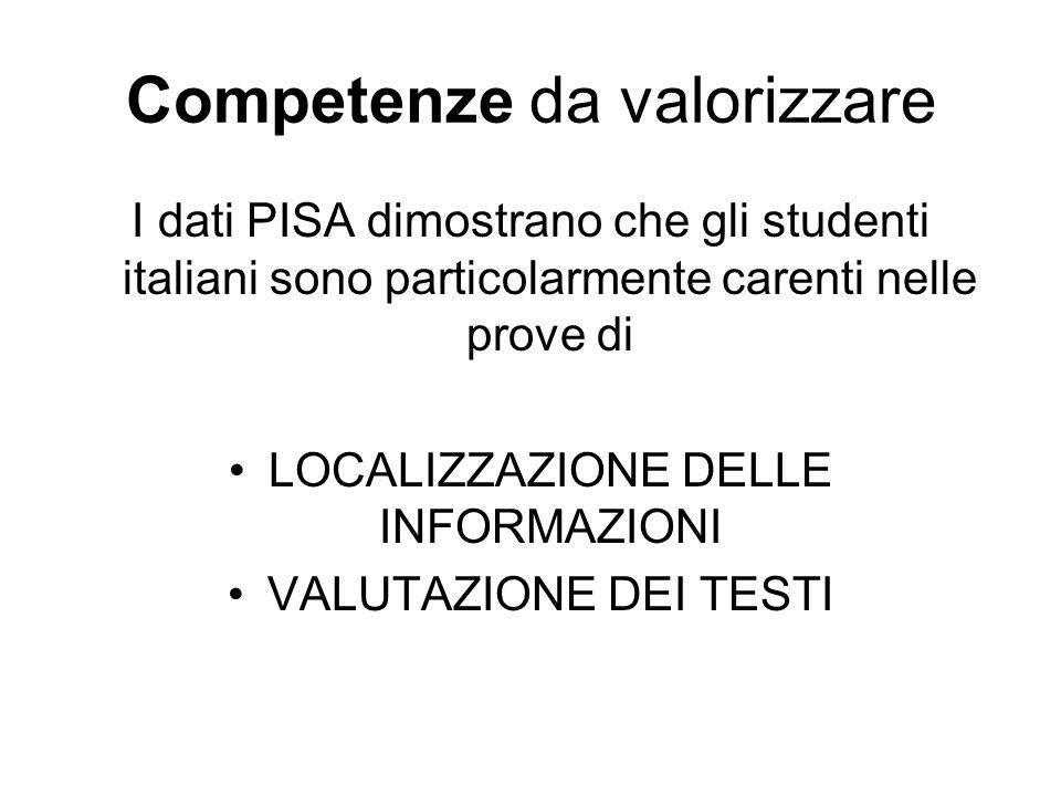 Competenze da valorizzare I dati PISA dimostrano che gli studenti italiani sono particolarmente carenti nelle prove di LOCALIZZAZIONE DELLE INFORMAZIONI VALUTAZIONE DEI TESTI