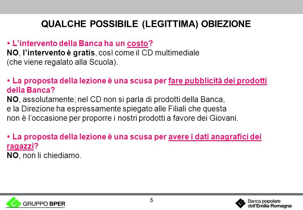 5 QUALCHE POSSIBILE (LEGITTIMA) OBIEZIONE Lintervento della Banca ha un costo.
