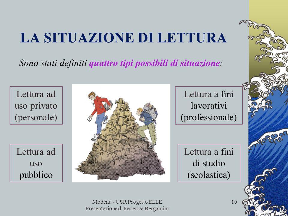 Modena - USR Progetto ELLE Presentazione di Federica Bergamini 9 la situazione di lettura il formato del testo le caratteristiche dei quesiti relativi