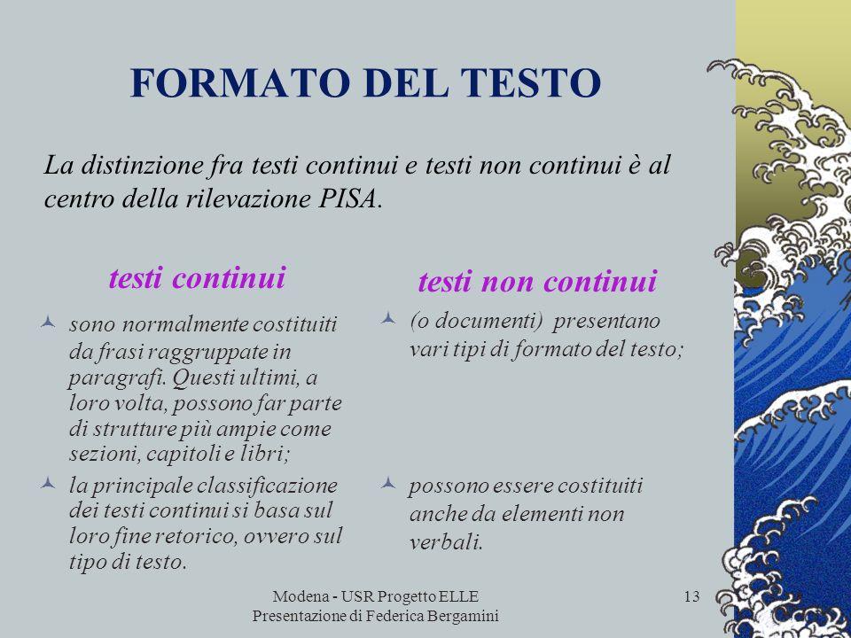 Modena - USR Progetto ELLE Presentazione di Federica Bergamini 12 LA SITUAZIONE DI LETTURA SCOPOCONTENUTI Lettura ad uso privato (personale) soddisfar
