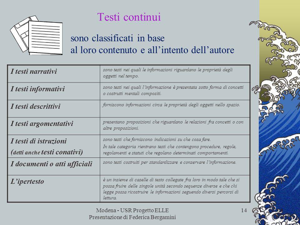 Modena - USR Progetto ELLE Presentazione di Federica Bergamini 13 FORMATO DEL TESTO testi continui sono normalmente costituiti da frasi raggruppate in
