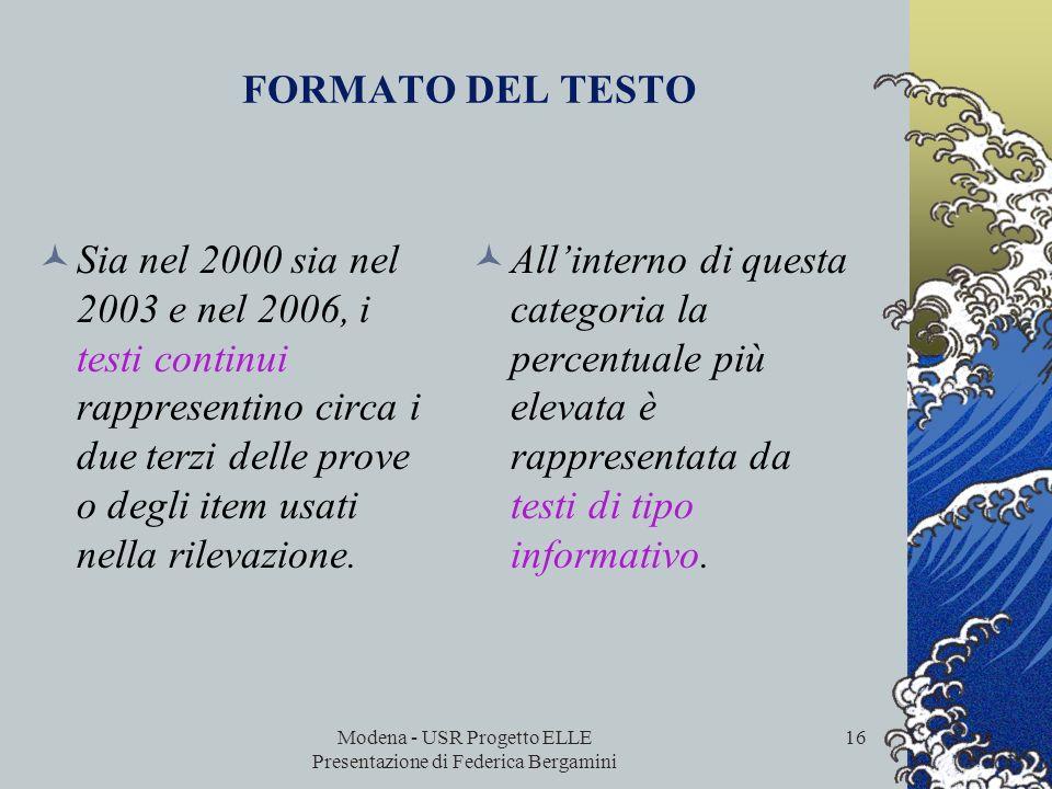 Modena - USR Progetto ELLE Presentazione di Federica Bergamini 15 sono organizzati diversamente dai testi continui e richiedono quindi un diverso appr