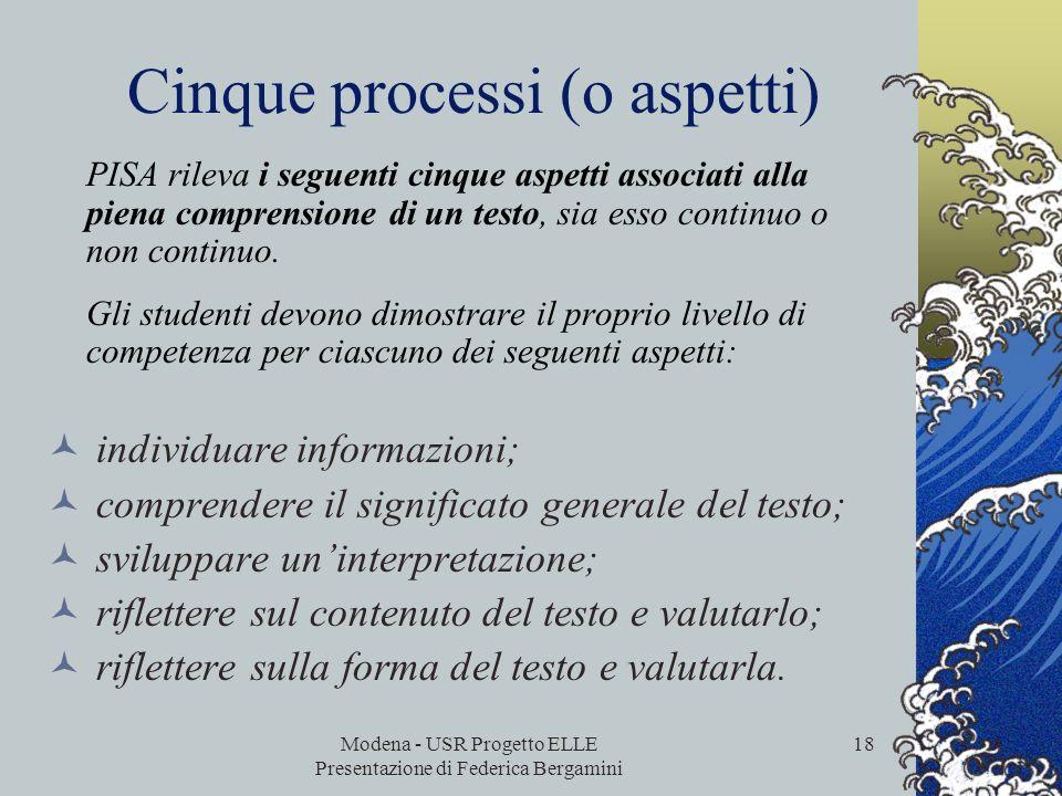 Modena - USR Progetto ELLE Presentazione di Federica Bergamini 17 CARATTERISTICHE DEI QUESITI Tipi di variabili per descrivere le caratteristiche dei