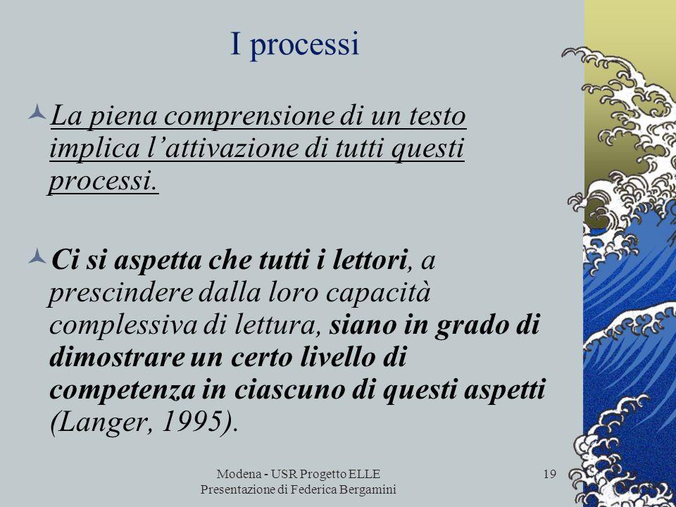 Modena - USR Progetto ELLE Presentazione di Federica Bergamini 18 Cinque processi (o aspetti) PISA rileva i seguenti cinque aspetti associati alla pie