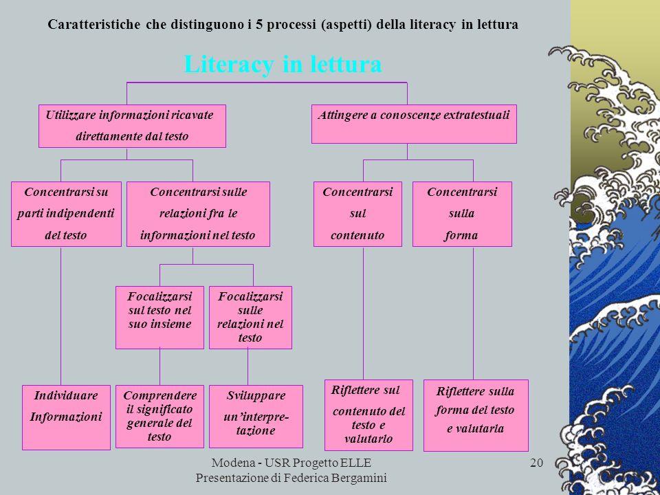 Modena - USR Progetto ELLE Presentazione di Federica Bergamini 19 I processi La piena comprensione di un testo implica lattivazione di tutti questi pr