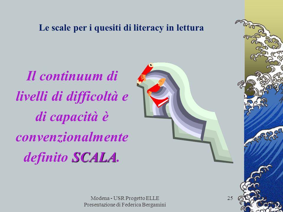Modena - USR Progetto ELLE Presentazione di Federica Bergamini 24 Per descrivere le prestazioni degli studenti, i quesiti di comprensione della lettur