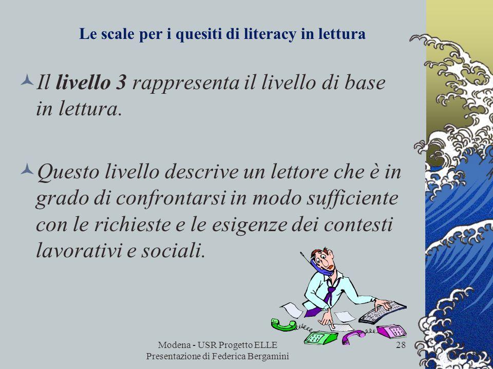 Modena - USR Progetto ELLE Presentazione di Federica Bergamini 27 Per cercare di rappresentare la progressione nella difficoltà e nella complessità in