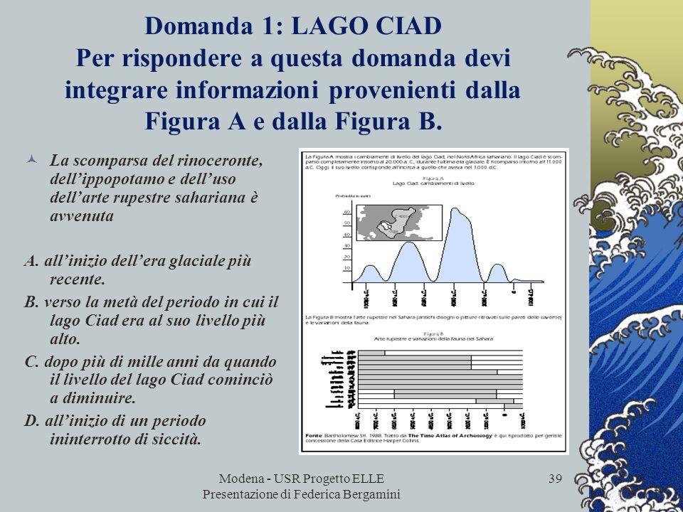 Modena - USR Progetto ELLE Presentazione di Federica Bergamini 38 Domanda 1: SCARPE SPORTIVE Questo quesito richiede che chi legge prenda in considera