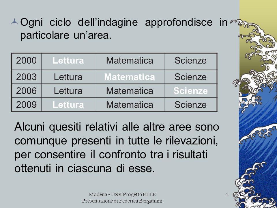 Modena - USR Progetto ELLE Presentazione di Federica Bergamini 3 Ocse - PISA indagine internazionale per accertare le competenze dei quindicenni scola