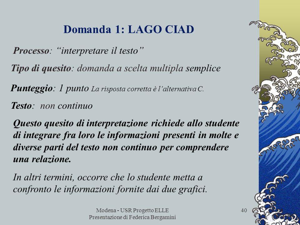 Modena - USR Progetto ELLE Presentazione di Federica Bergamini 39 Domanda 1: LAGO CIAD Per rispondere a questa domanda devi integrare informazioni pro