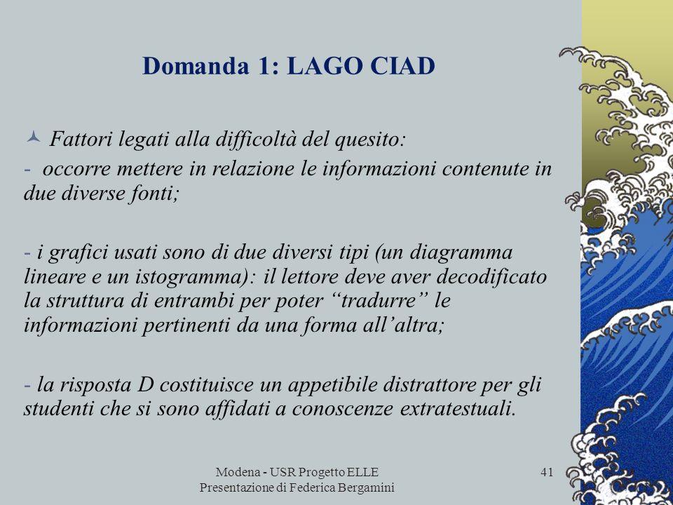 Modena - USR Progetto ELLE Presentazione di Federica Bergamini 40 Domanda 1: LAGO CIAD Processo: interpretare il testo Tipo di quesito: domanda a scel