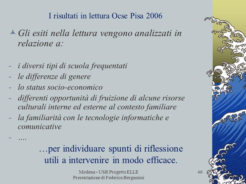 Modena - USR Progetto ELLE Presentazione di Federica Bergamini 45 I risultati in lettura Ocse Pisa 2006 I risultati non sono finalizzati alla stesura