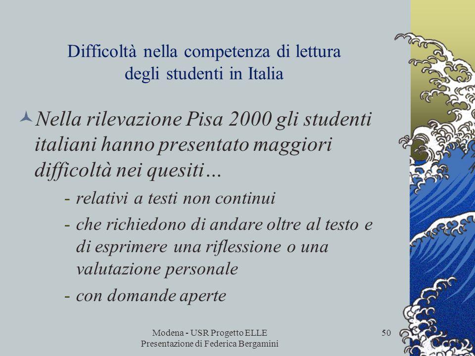 Modena - USR Progetto ELLE Presentazione di Federica Bergamini 49 Livello di competenza di lettura degli studenti in Emilia-Romagna, Italia e paesi Oc