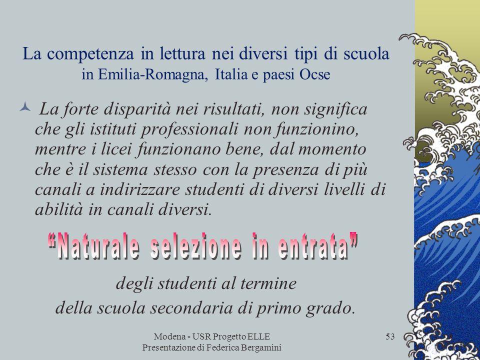 Modena - USR Progetto ELLE Presentazione di Federica Bergamini 52 La competenza in lettura nei diversi tipi di scuola in Emilia-Romagna, Italia e paes