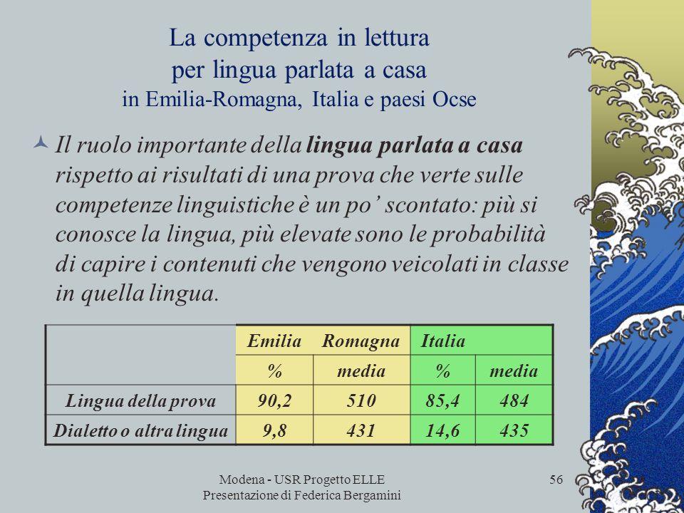Modena - USR Progetto ELLE Presentazione di Federica Bergamini 55 La competenza in lettura per livello di istruzione dei genitori in Emilia-Romagna, I