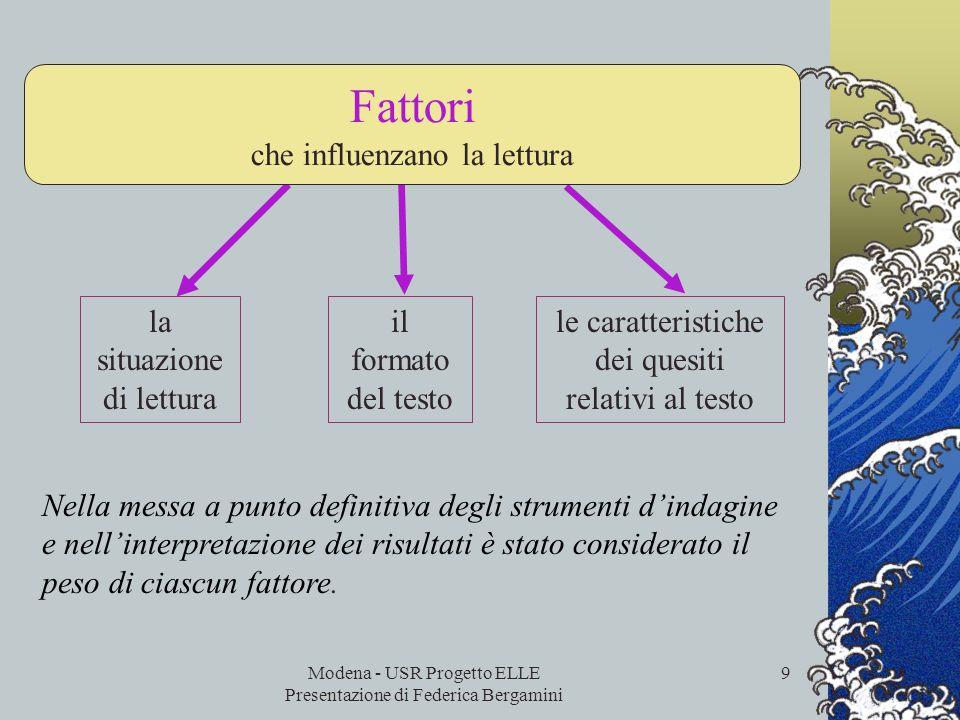 Modena - USR Progetto ELLE Presentazione di Federica Bergamini 8 La definizione di reading literacy… …tiene conto del ruolo attivo e interattivo gioca