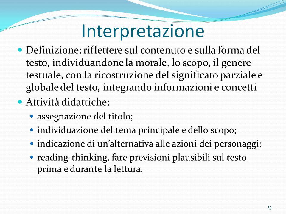 Interpretazione Definizione: riflettere sul contenuto e sulla forma del testo, individuandone la morale, lo scopo, il genere testuale, con la ricostru