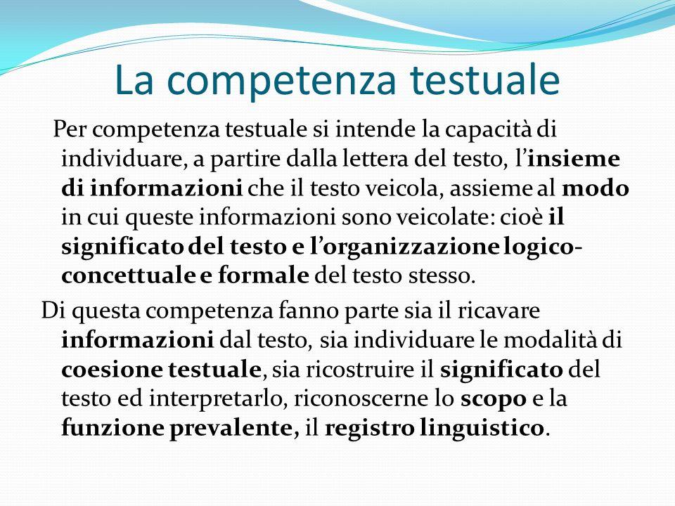 Per competenza testuale si intende la capacità di individuare, a partire dalla lettera del testo, linsieme di informazioni che il testo veicola, assie