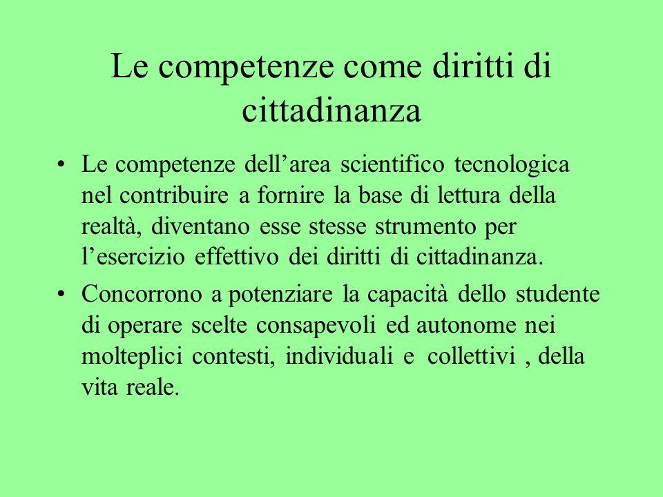 Le competenze come diritti di cittadinanza Le competenze dellarea scientifico tecnologica nel contribuire a fornire la base di lettura della realtà, diventano esse stesse strumento per lesercizio effettivo dei diritti di cittadinanza.