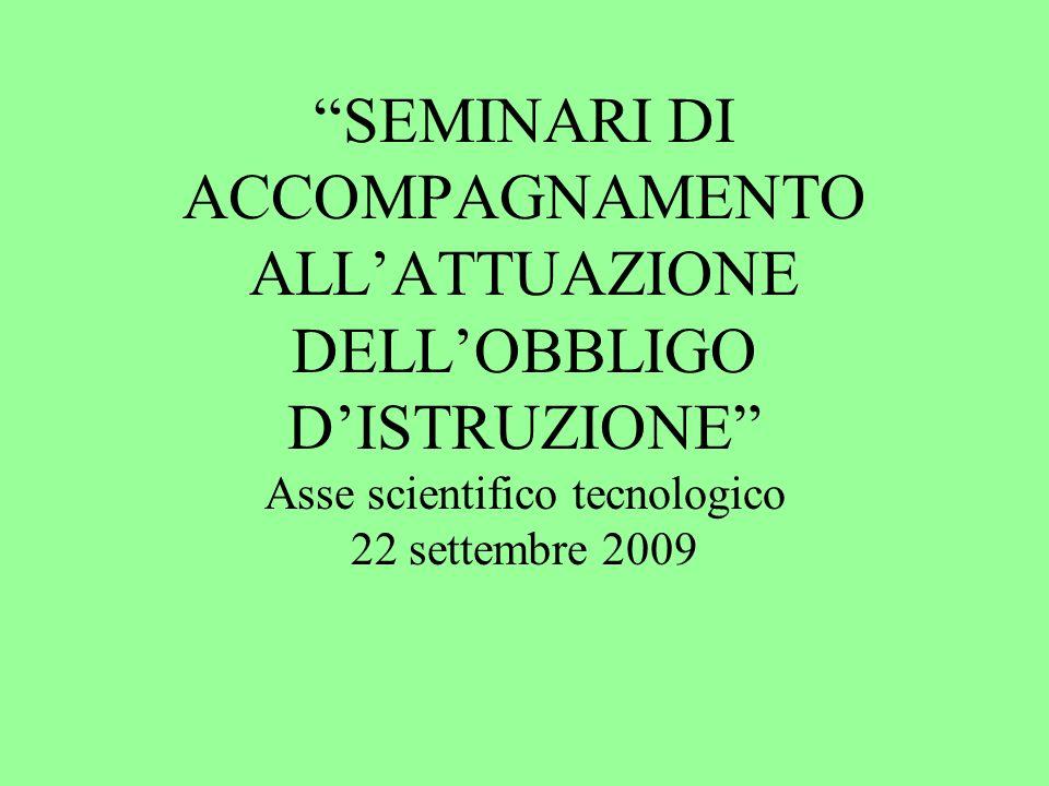 SEMINARI DI ACCOMPAGNAMENTO ALLATTUAZIONE DELLOBBLIGO DISTRUZIONE Asse scientifico tecnologico 22 settembre 2009