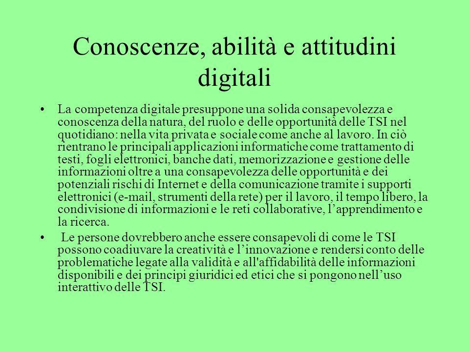 Conoscenze, abilità e attitudini digitali La competenza digitale presuppone una solida consapevolezza e conoscenza della natura, del ruolo e delle opp