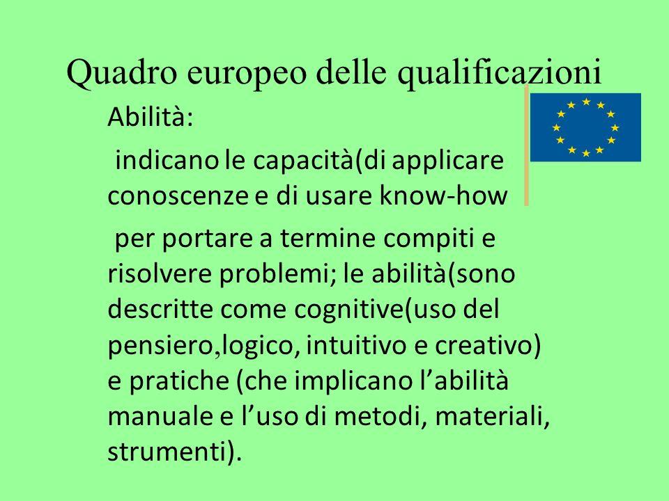 Quadro europeo delle qualificazioni Abilità: indicano le capacità(di applicare conoscenze e di usare know-how per portare a termine compiti e risolver