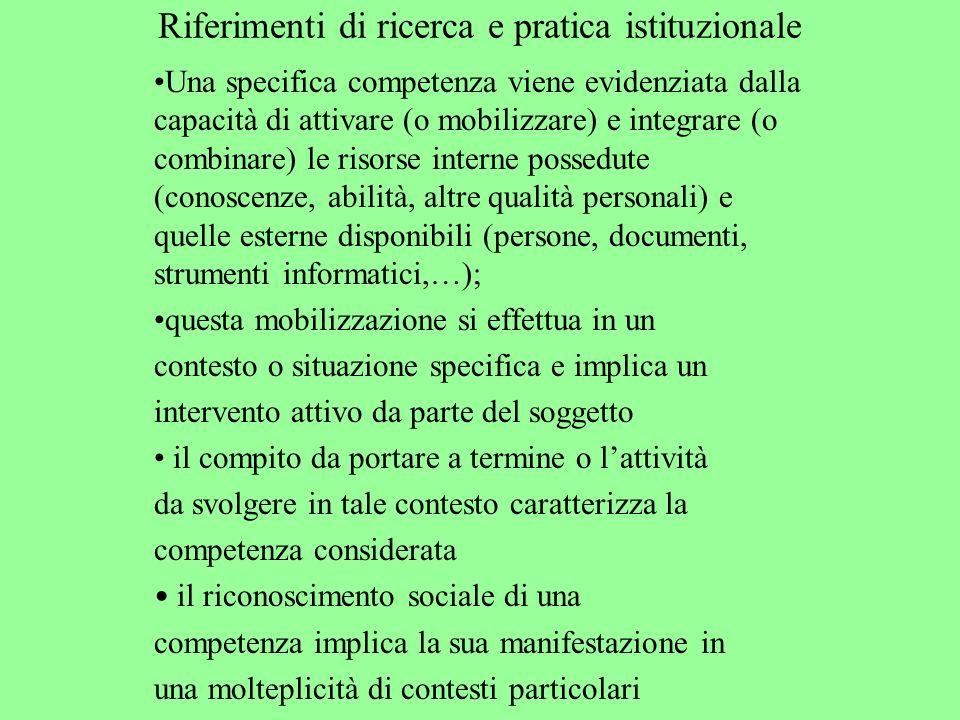 Riferimenti di ricerca e pratica istituzionale Una specifica competenza viene evidenziata dalla capacità di attivare (o mobilizzare) e integrare (o co