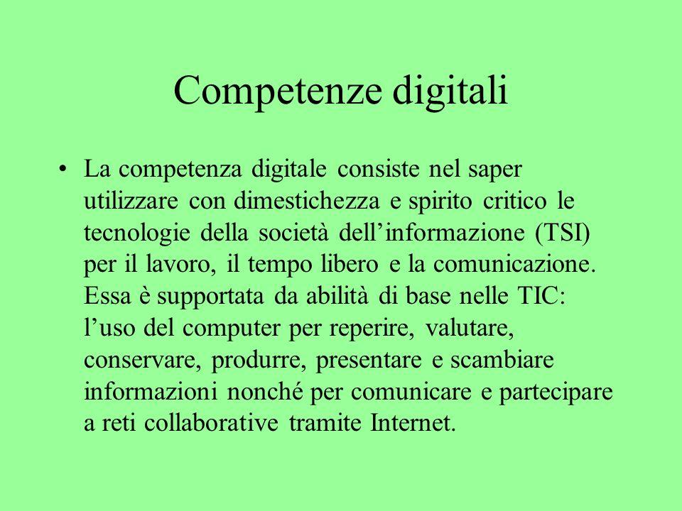 Conoscenze, abilità e attitudini digitali La competenza digitale presuppone una solida consapevolezza e conoscenza della natura, del ruolo e delle opportunità delle TSI nel quotidiano: nella vita privata e sociale come anche al lavoro.