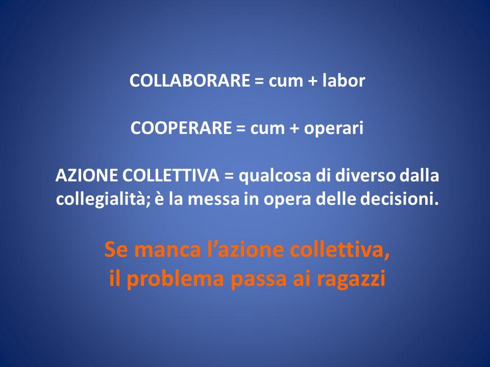 COLLABORARE = cum + labor COOPERARE = cum + operari AZIONE COLLETTIVA = qualcosa di diverso dalla collegialità; è la messa in opera delle decisioni. S