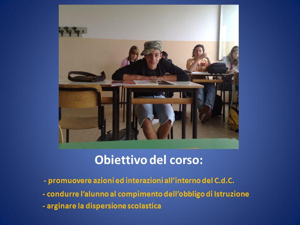Obiettivo del corso: - promuovere azioni ed interazioni allinterno del C.d.C. - condurre lalunno al compimento dellobbligo di Istruzione - arginare la