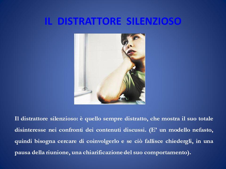 IL DISTRATTORE SILENZIOSO Il distrattore silenzioso: è quello sempre distratto, che mostra il suo totale disinteresse nei confronti dei contenuti discussi.