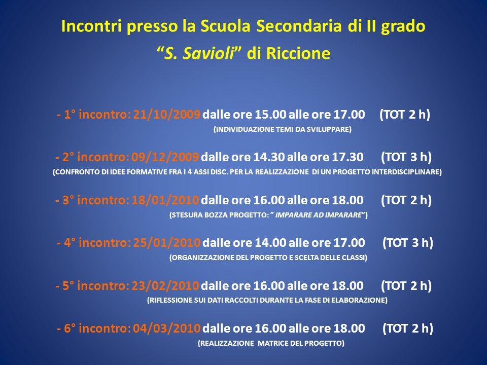 Incontri presso la Scuola Secondaria di II grado S. Savioli di Riccione - 1° incontro: 21/10/2009 dalle ore 15.00 alle ore 17.00 (TOT 2 h) (INDIVIDUAZ