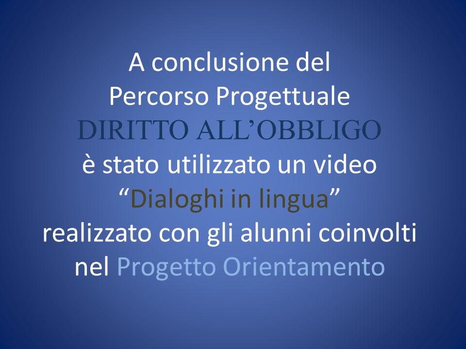 A conclusione del Percorso Progettuale DIRITTO ALLOBBLIGO è stato utilizzato un videoDialoghi in lingua realizzato con gli alunni coinvolti nel Progetto Orientamento