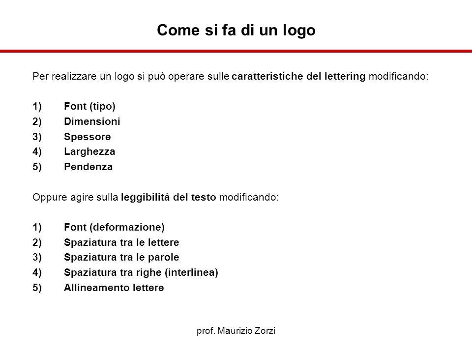 prof. Maurizio Zorzi Per realizzare un logo si può operare sulle caratteristiche del lettering modificando: 1)Font (tipo) 2)Dimensioni 3)Spessore 4)La