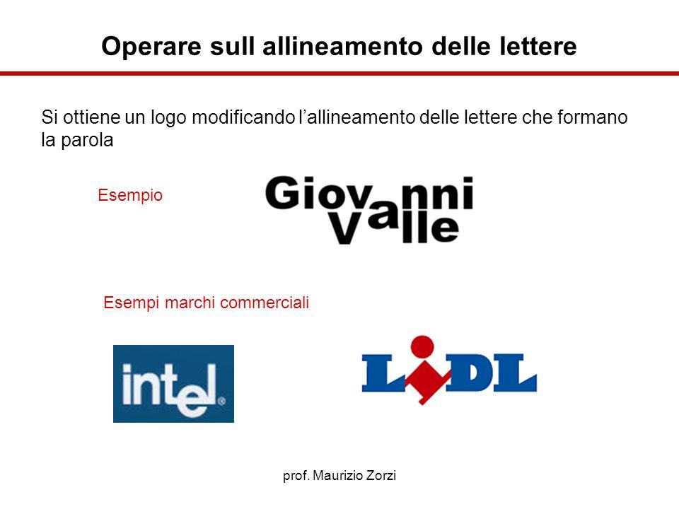 prof. Maurizio Zorzi Operare sull allineamento delle lettere Esempio Esempi marchi commerciali Si ottiene un logo modificando lallineamento delle lett
