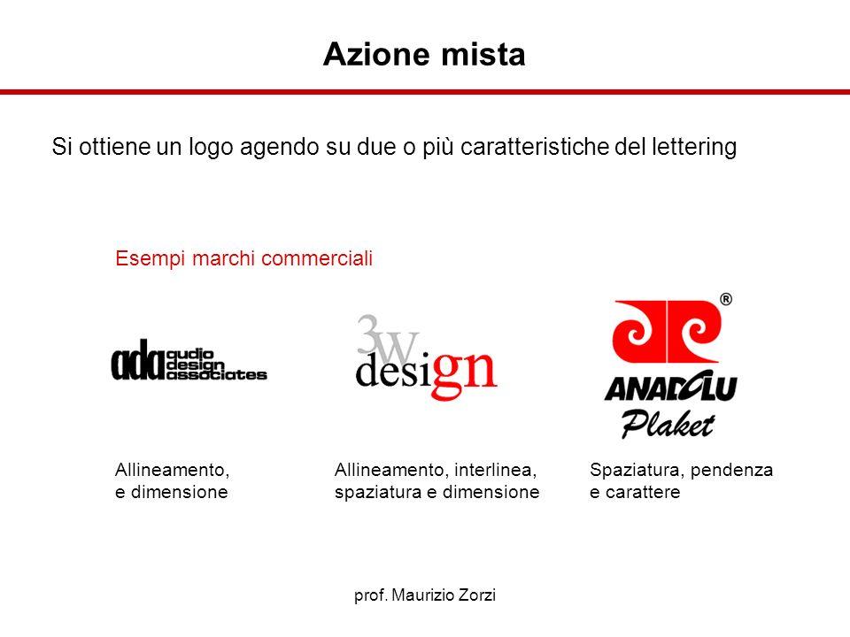 prof. Maurizio Zorzi Esempi marchi commerciali Si ottiene un logo agendo su due o più caratteristiche del lettering Allineamento, e dimensione Allinea