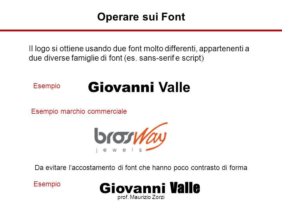 prof. Maurizio Zorzi Operare sui Font Giovanni Valle Il logo si ottiene usando due font molto differenti, appartenenti a due diverse famiglie di font