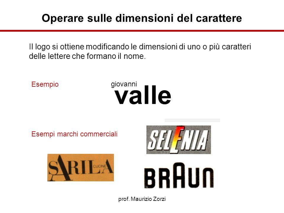 prof. Maurizio Zorzi Il logo si ottiene modificando le dimensioni di uno o più caratteri delle lettere che formano il nome. Esempio Esempi marchi comm