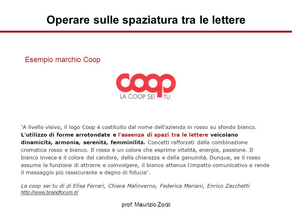 prof. Maurizio Zorzi Operare sulle spaziatura tra le lettere Esempio marchio Coop A livello visivo, il logo Coop è costituito dal nome dell'azienda in