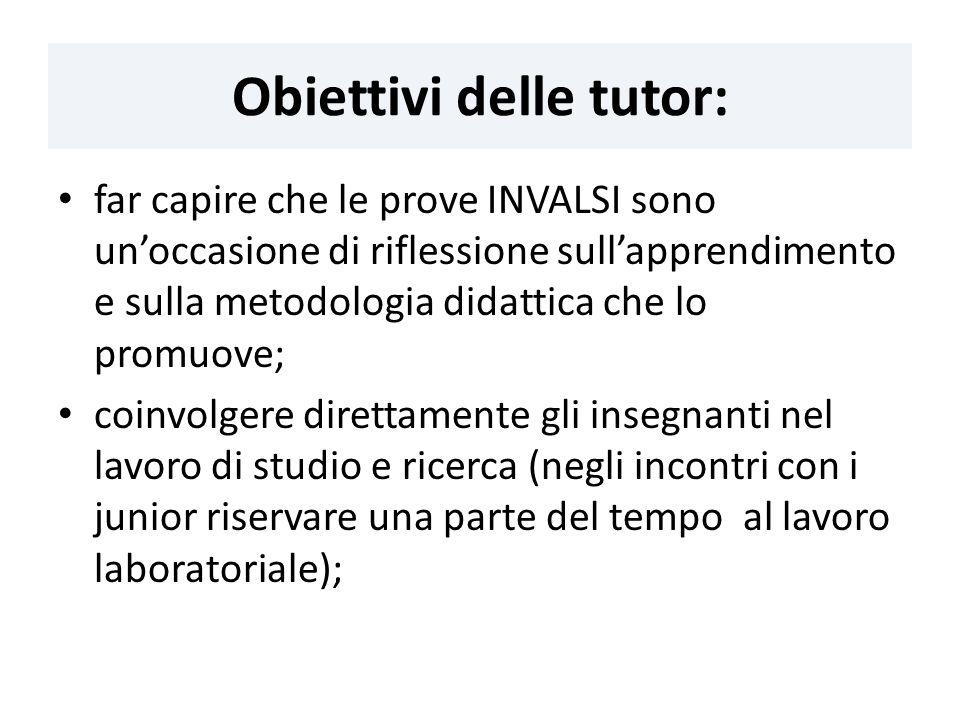 Obiettivi delle tutor: far capire che le prove INVALSI sono unoccasione di riflessione sullapprendimento e sulla metodologia didattica che lo promuove