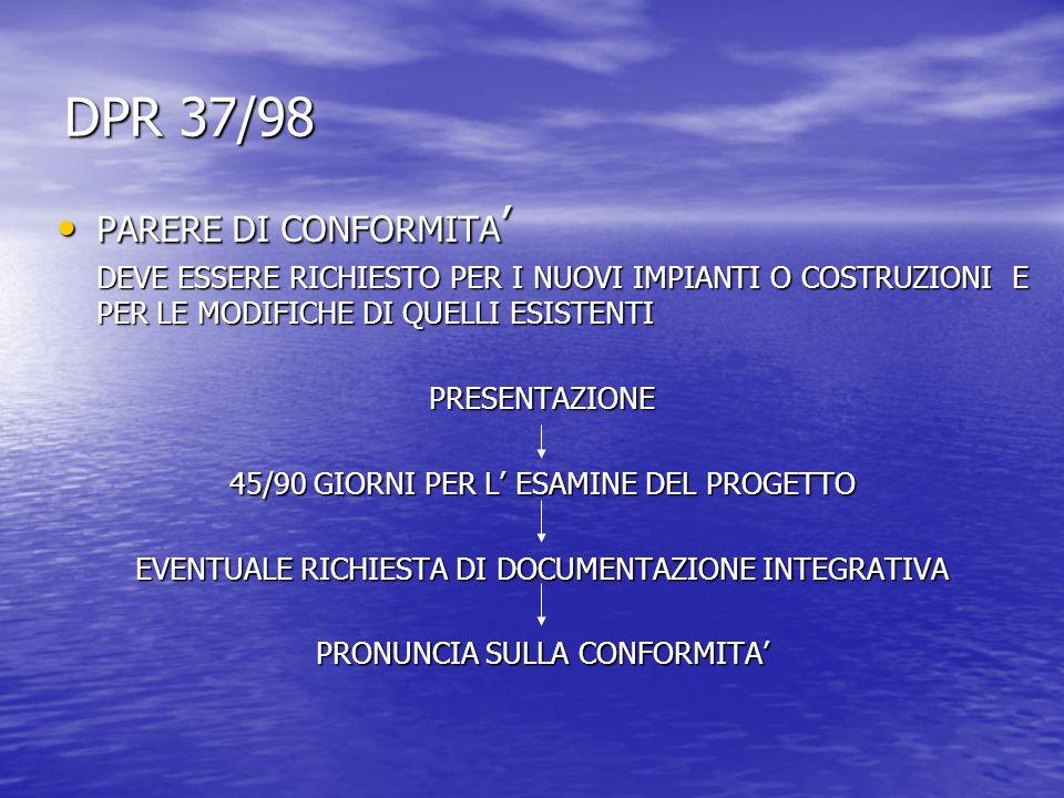 DPR 37/98 PARERE DI CONFORMITA PARERE DI CONFORMITA DEVE ESSERE RICHIESTO PER I NUOVI IMPIANTI O COSTRUZIONI E PER LE MODIFICHE DI QUELLI ESISTENTI PRESENTAZIONE 45/90 GIORNI PER L ESAMINE DEL PROGETTO EVENTUALE RICHIESTA DI DOCUMENTAZIONE INTEGRATIVA PRONUNCIA SULLA CONFORMITA
