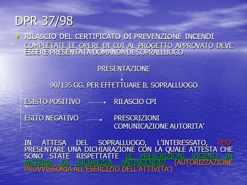 DPR 37/98 RILASCIO DEL CERTIFICATO DI PREVENZIONE INCENDI RILASCIO DEL CERTIFICATO DI PREVENZIONE INCENDI COMPLETATE LE OPERE DI CUI AL PROGETTO APPROVATO DEVE ESSERE PRESENTATA DOMANDA DI SOPRALLUOGO PRESENTAZIONE 90/135 GG.